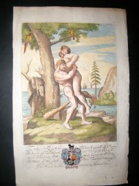 Richard Blome C1700 Hand Col Print. Nude Clubmen, Wrestlers. Gay interest